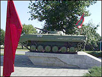 A tank on display in Tiraspol, the capital of Trans-Dniester