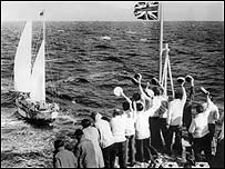 Robin Knox-Johnston arrives back in the English Channel on 23 April 1969