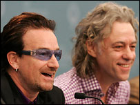 Bono and Sir Bob Geldof at July's G8 summit.  Kirsty Wigglesworth PA