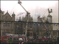 Stoke Rochford Hall on fire