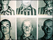 Pictures of inmates on display at Auschwitz