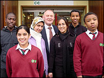 Sir Robert Dowling with pupils
