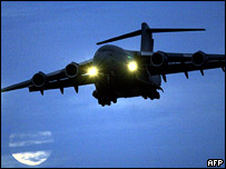Plane carrying detainees arrives at RAF Northolt