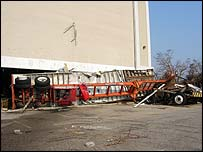 A fruit truck upturned by hurricane Katrina