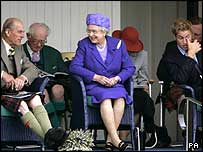 The Duke of Edinburgh, The Queen and Prince William enjoying the games