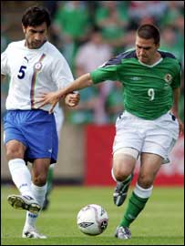 David Healy had to go off because of a knock in the second half