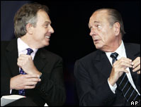 UK Minister Tony Blair (left) and France's President Jacques Chirac at the recent Airbus 380 launch