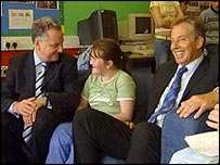 Jack McConnell and Tony Blair with local youngsters