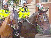 Police horses at the Wales-England international in Cardiff, 3 September 2005
