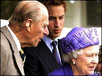 The Duke of Edinburgh with a plaster on his right ear