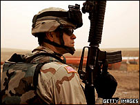 US soldier on patrol in Ramadi, Iraq, 24 January 2005
