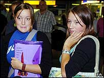 Charlotte and Rebecca Scott arrive at Gatwick