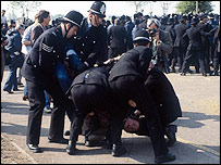 Police and miners clash