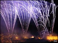 Previous fireworks display at Edinburgh Castle