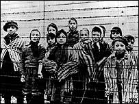 Child prisoners at Auschwitz after its liberation by the Soviet army