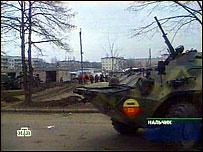 Бронетранспортер МВД в Нальчике (Кадр НТВ)