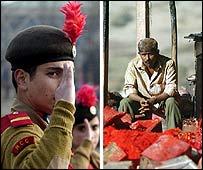 Cadet in Kashmir (AP picture) and stallholder after Maharashtra fire (AFP)