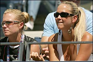 Lleyton Hewitt's sister Jaslyn (left) and wife Bec