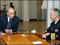 Russian President Vladimir Putin speaks with the new head of Russia's Navy, Admiral Vladimir Masorin