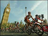Cyclists pass Big Ben on the final stage of the Tour of Britain