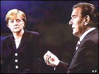 Angela Merkel and Gerhard Schroeder