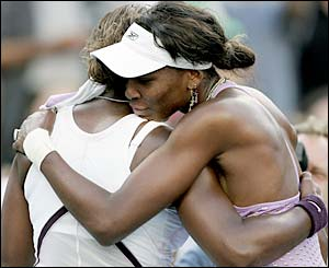 Venus Williams hugs sister Serena