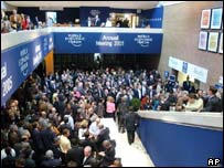 Delegates gather in the atrium of the World Economic Forum meeting in Davos