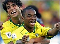 Brazil's Kaka and Robinho celebrate