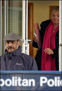 Azmat Begg and Louise Christian leaving Paddington Green police station