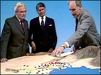 Peter Snow and the sandpit during the first Gulf War