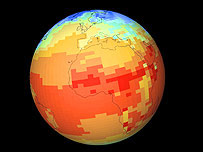 Global temperature simulation.  Image: climateprediction.net