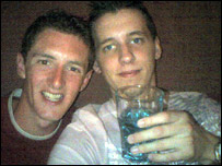 Adam Friend (right) was stranded with his friend Russell Porter