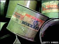 Empty Zyklon B gas canisters on display in Auschwitz