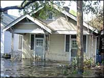 Flooded house in New Orleans