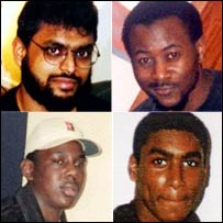 Clockwise from top left: Moazzam Begg, Martin Mubanga, Feroz Abbasi and Richard Belmar