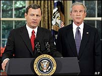 Judge John Roberts and President Bush
