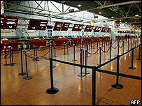 Empty check-in area at Heathrow during last month's strike action