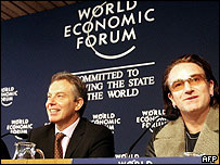 UK Prime Minister Tony Blair (left) and U2 singer Bono appeal for aid for Africa
