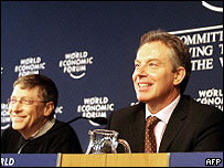 Microsoft founder Bill Gates (right) and UK prime minister Tony Blair