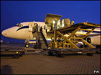 Aircraft being loaded at RAF Brize Norton, in the UK