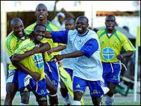 Players of South African club Mamelodi Sundowns