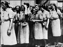 Women prisoners line up for a hard labour assignment at the Auschwitz concentration camp