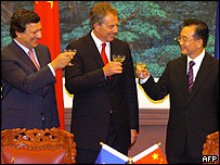 Jose Manuel Barroso, Tony Blair and Wen Jiabao