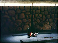 The eternal flame burns at the Yad Vashem Holocaust Memorial in Jerusalem