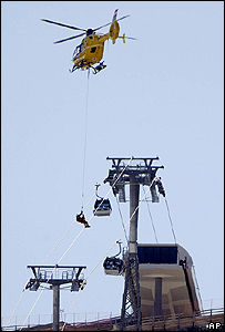 Cable car passengers are rescued by a helicopter in the Austrian skiing resort of Soelden.