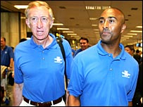 David Hemery (left) arrives in Singapore with Colin Jackson