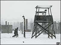 A watchtower at the former Nazi death camp at Auschwitz-Birkenau, 27 January 2005