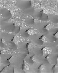 Sands dunes on Mars imaged by MGS (Nasa)