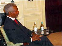 Kofi Annan during the BBC interview