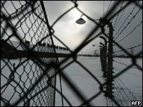 Barbed wire surrounding Birkenau death camp